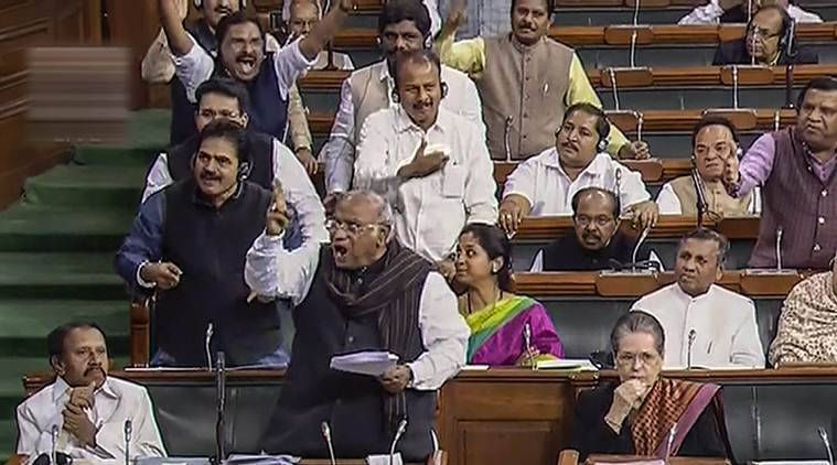 parliament session, parliament budget session, budget session live, budget session today, lok sabha, rajaya sabha, shashi tharoor, tdp protest, indian express