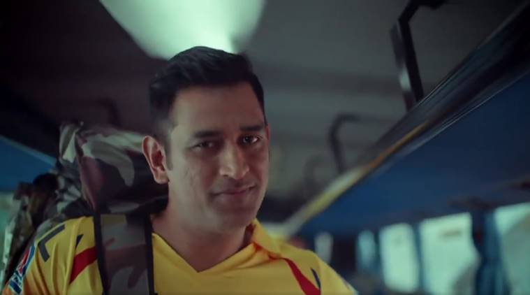CSK captain MS Dhoni in an ad for IPL