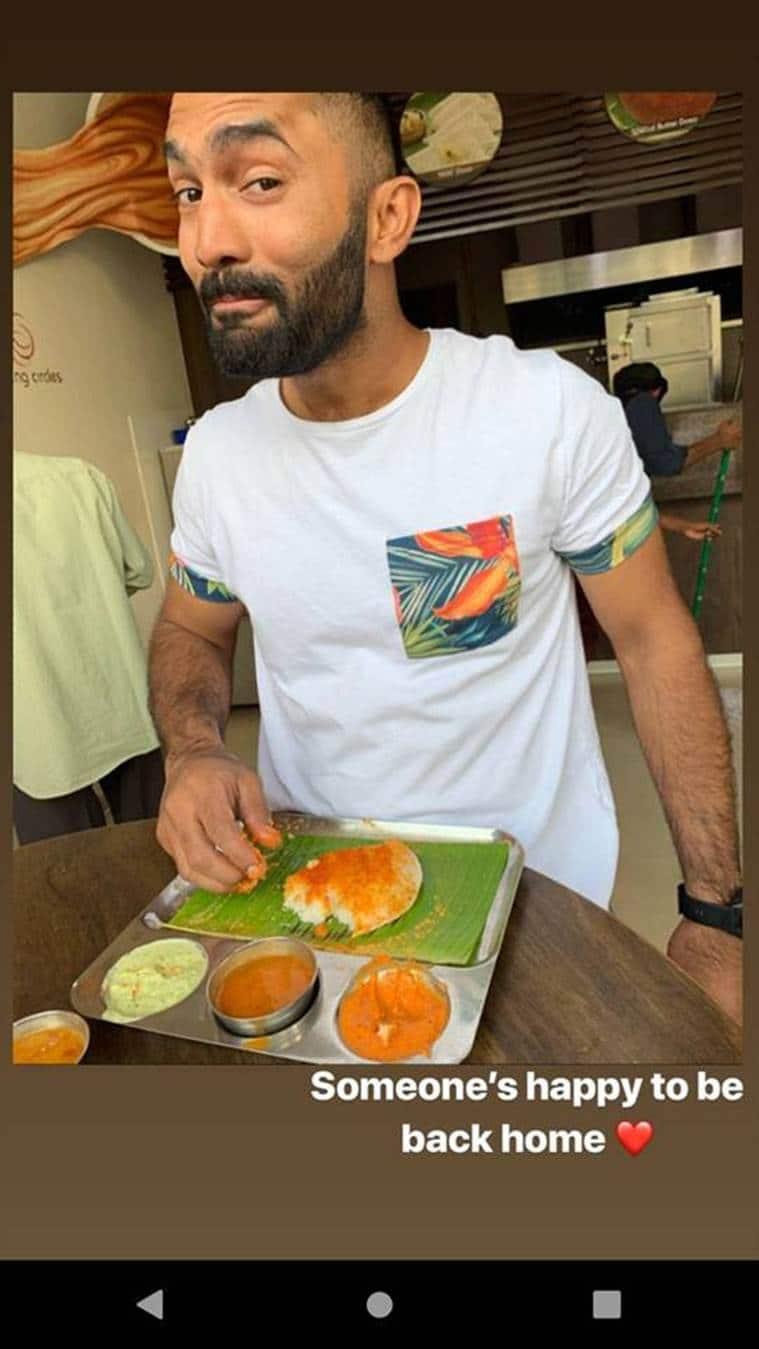 Dinesh Karthik enjoyed some good South Indian cuisine on his return. (Dinesh Karthik Twitter)