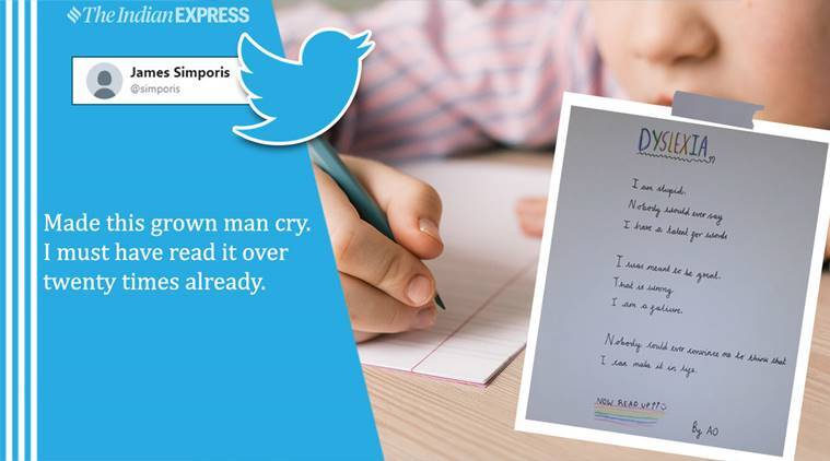 dyslexia, child writes poem, dyslexia child poem, 10-year-old pens a powerful palindrome, children, parenting, twitter, twitter reactions, indian express, indian express news