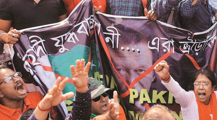 Kolkata Eden Gardens protest: BJYM workers seek removal of Imran Khan photos, 64 held