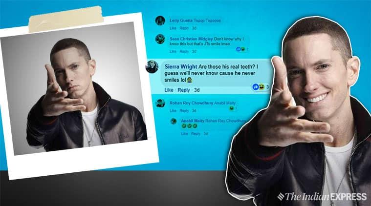 Eminem, Eminem songs, Eminem pictures. artist makes Eminem smile, funny Eminem, artist edits Eminem, viral pictures, Facebook, indian express, indian express news