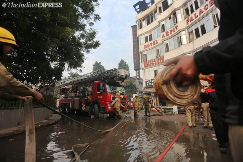 Massive fire breaks out at Hotel Arpit Palace in Delhi's Karol Bagh