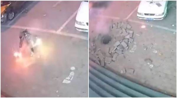 firework, firecracker, man puts firecracker in manhole, viral video manhole firecracker, viral video, China, trending, indian express, indian express news