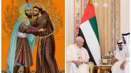 Pope Francis, Pope Francis in Abu Dhabi, Abu Dhabi crown prince, Sheikh Mohamed bin Zayed, Pope in UAE, Pope in Abu Dhabi, world news, Indian Express
