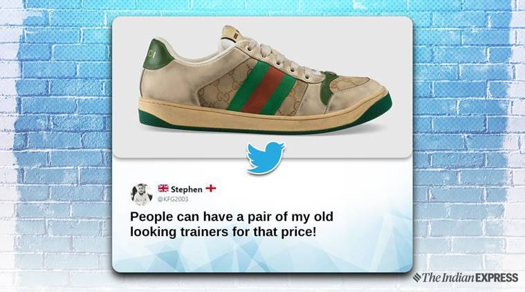 Gucci, Gucci shoes, dirty vintage shoes, gucci vintage shoes, Gucci trolled dirty shoes, sneakers, trainers, dirty trainers, Gucci, shoes, twitter reactions, indian express, indian express news