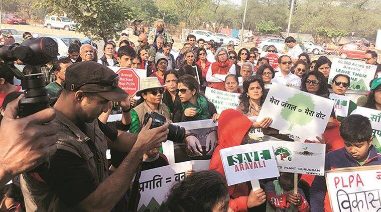 gurgaon residents, protest in gurgaon, land act, haryana government, punjab land preservation act, plpa, amendment bill, vidhan sabha, aravalli range, tree felling, environment, supreme court, forests, delhi news, indian express news