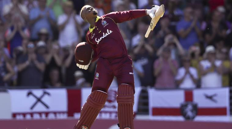West Indies' Shimron Hetmyer celebrates after he scored a century against England. (Source: AP)