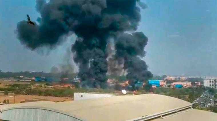 A still from a video grab shows smoke rising from the wreckage of the Mirage-2000 fighter aircraft after it crash landed in Bengaluru. (PTI)