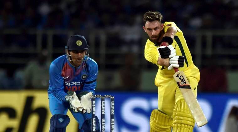 Australia's Glenn Maxwell plays a shot against India during the first T20 international cricket match between India and Australia at the Dr. YS Rajasekhara Reddy ACA–VDCA Cricket Stadium in Vizag
