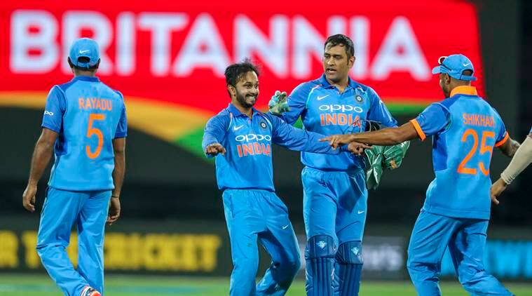 India's Kedar Jadhav, center, celebrates the wicket of New Zealand's captain Kane Williamson during their fifth one day international at Westpac Stadium in Wellington, New Zealand