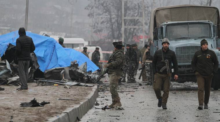 Several CRPF men were killed in an attack in Awantipora on Thursday. (Express photo/Shuaib Masoodi)