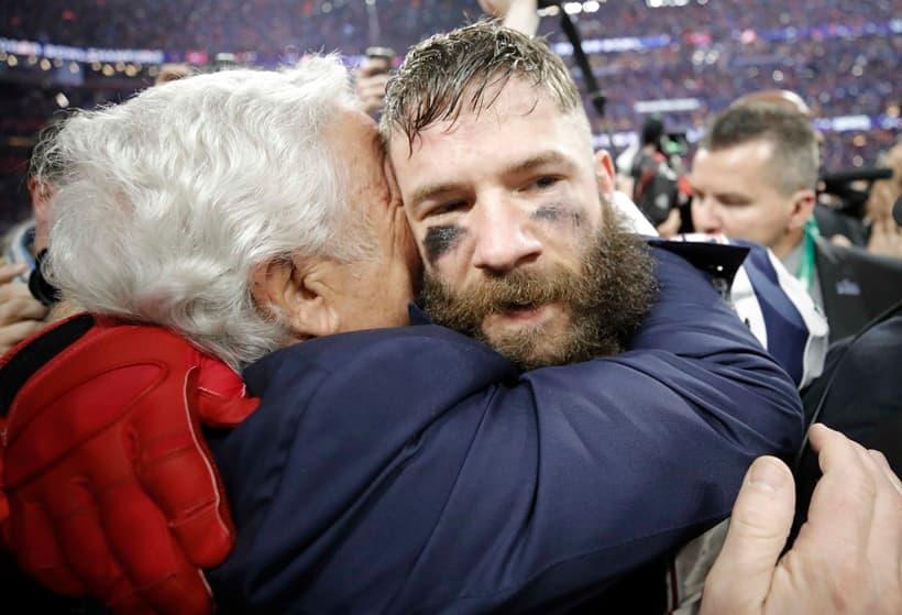 New England Patriots' Julian Edelman celebrates with New England Patriots owner Robert Kraft after winning Super Bowl LIII.