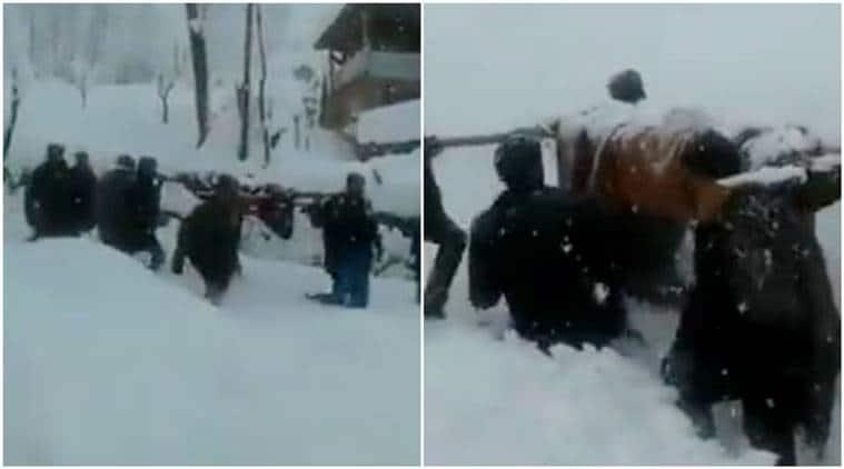 kashmir, kashmir snowfall, Shopian, Shopian snowfall, pregnant lady, pregnant lady Kashmir, child news , viral video, indian express, kashmir news