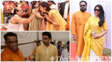 Katrina Kaif, Abhishek Bachchan Sakshi Tanwar Anurag Basu Saraswati Puja photos