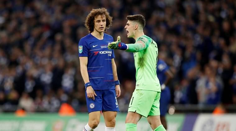 Chelsea's Kepa Arrizabalaga protests after he is called to be substituted