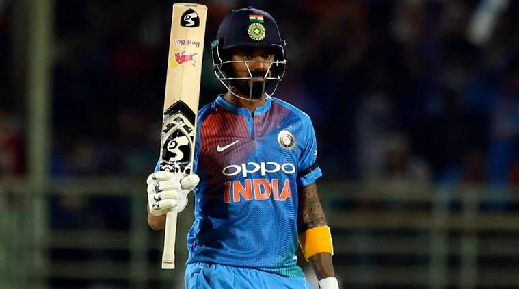 India's Lokesh Rahul celebrates after his fifty runs during the first Twenty20 international cricket match between India and Australia, in Visakhapatnam