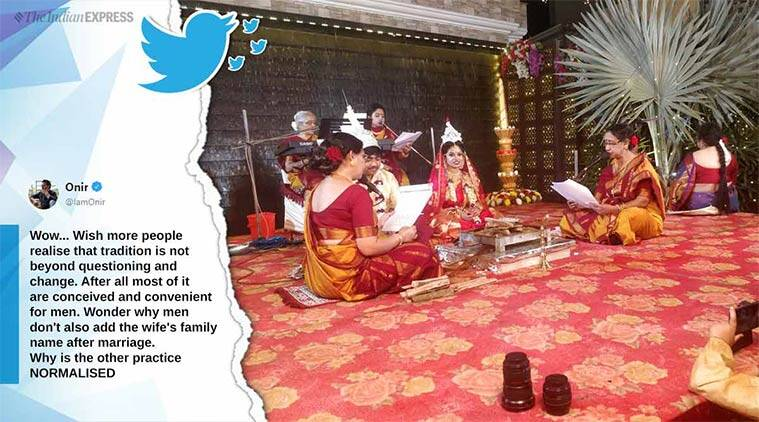bengali wedding, hindu wedding, kanyadaan, father refuses kanyadaan, viral wedding post, viral news, good news, indian express