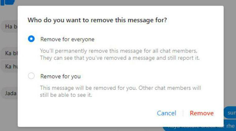 Facebook Messenger gives users option to delete sent messages