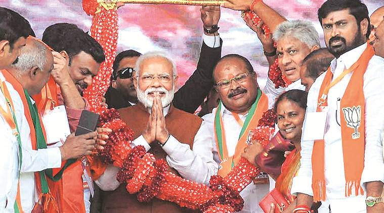 Narendra Modi, Narendra Modi Rally, Modi on chandrababu naidu, PM Modi, Modi Rally, Modi Rally Today, Modi in andhra pradesh, Lok sabha elections, general election 2019, chandrababu naidu modi war, indian express