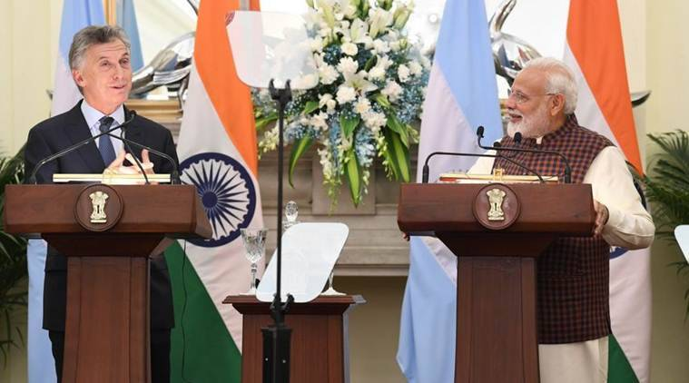 Prime Minister Narendra Modi held talks with Argentina President Mauricio Macri on Monday. (Twitter/@PIB_India)