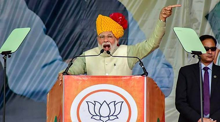 Prime Minister Narendra Modi addresses the crowd in Rajasthan's Tonk on Saturday. (PTI)