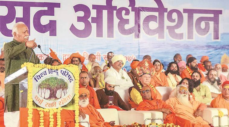 Protesters demand date for Ram temple construction from Mohan Bhagwat