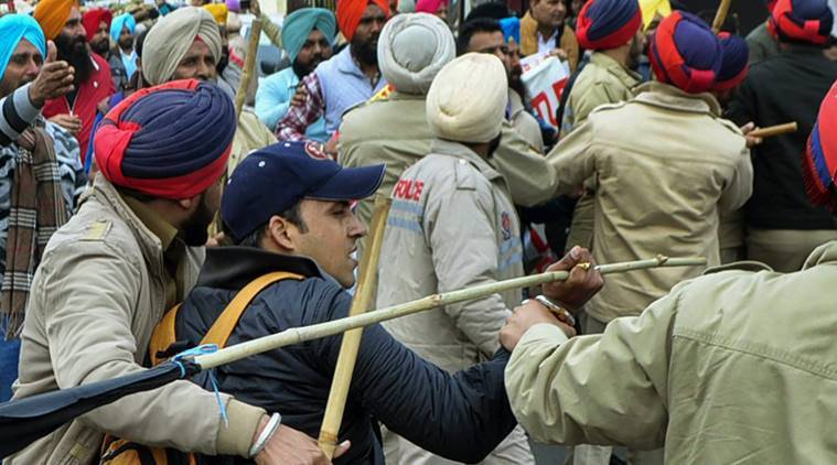 Patiala, Patiala teachers protest, Amarinder Singh, Punjab teacher protest, teacher protest lathicharge, patiala protest, patiala news, indian express, latest news