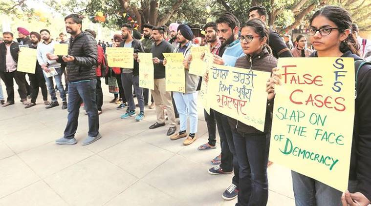 Students protest at PU over life term to three Sikh youths