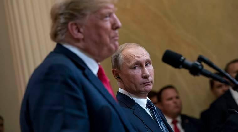 President Donald Trump and President Vladimir Putin during a joint news conference in Helsinki, July 16, 2018.