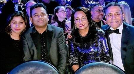 ar rahman with daughter at the grammys