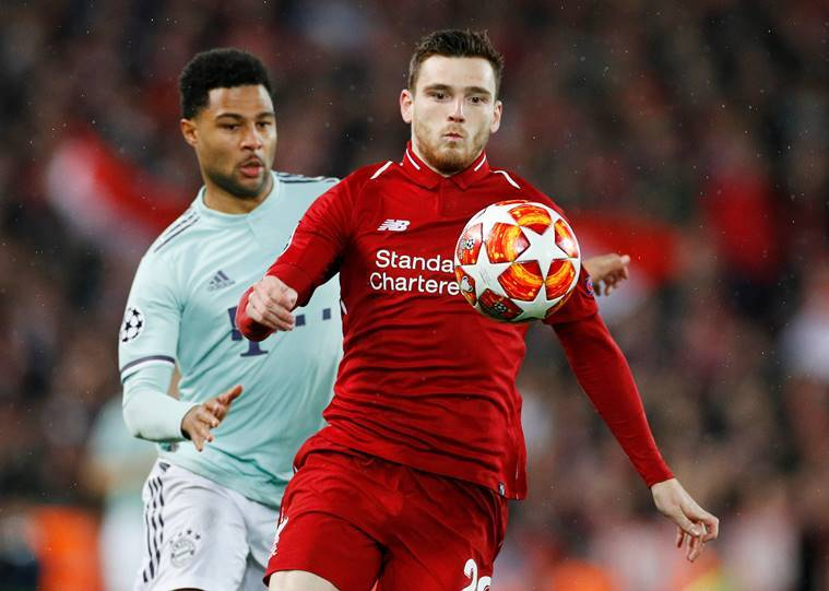 Liverpool's Andrew Robertson in action with Bayern Munich's Serge Gnabry