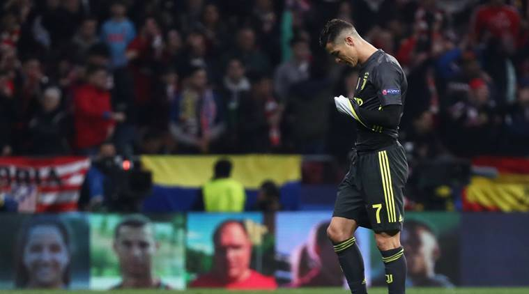 Juventus' Cristiano Ronaldo looks dejected after the match against Atletico Madrid