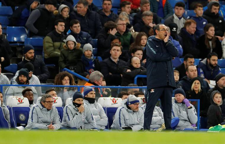 Chelsea manager Maurizio Sarri reacts during the FA Cup fixture against Manchester United