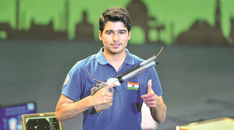 Saurabh Chaudhary, saurabh chaudhary gold, shooting world cup, issf world cup, Men's 10m Air Pistol, 10m air pistol, shooting news, indian express