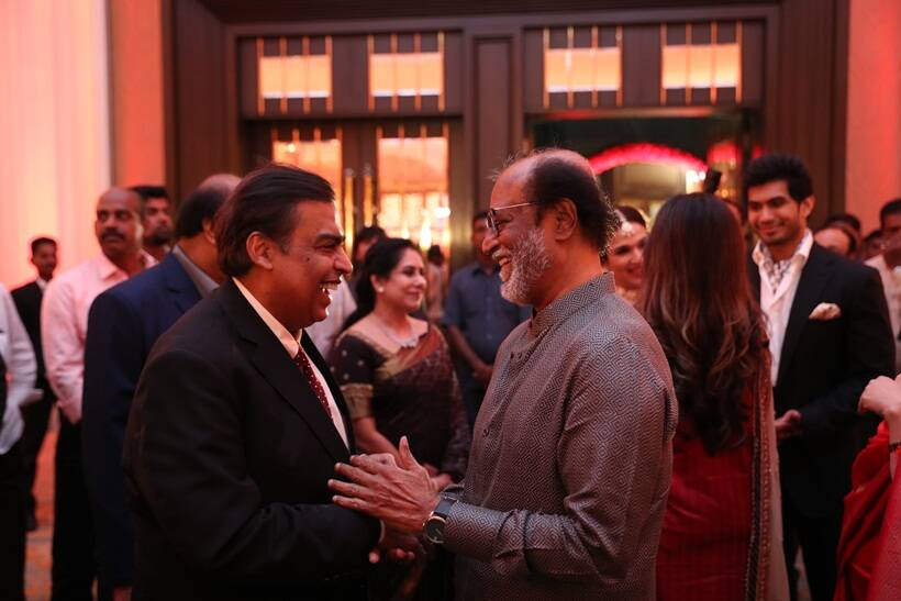 Mukesh Ambani with rajinikanth