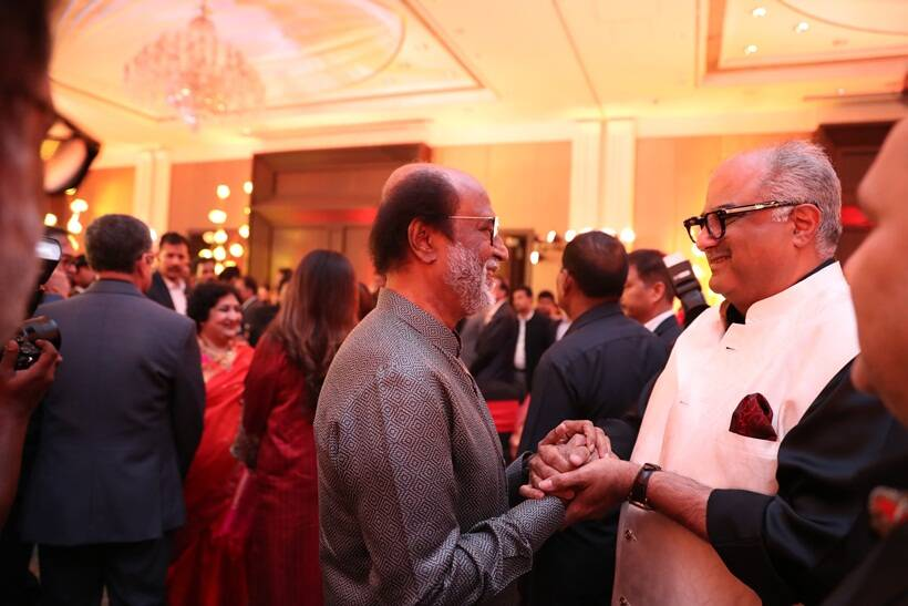 Rajinikanth with Boney Kapoor at Soundarya Rajnikanth and Vishagan Vanangamudi reception