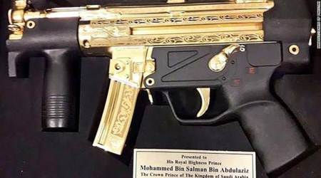 Saudi Arabia's Crown Prince gifted gold-plated submachine gun by Pakistan