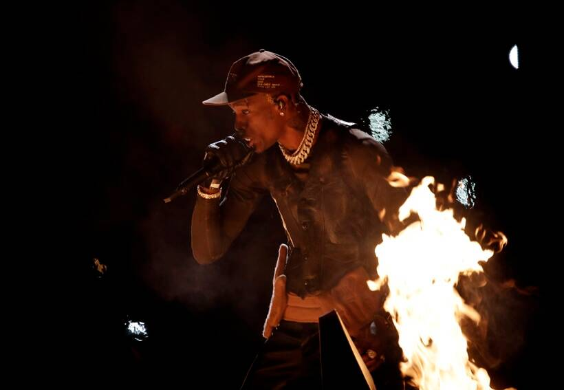 Travis Scott performs during the halftime show.