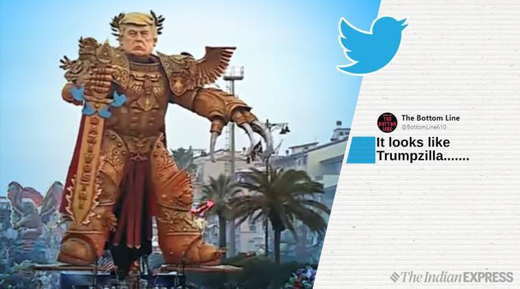 Donald Trump, Italy, Italy prade, Gigantic Video Game, Trump inspired video game, God-Emperor, Trump float, Us president
