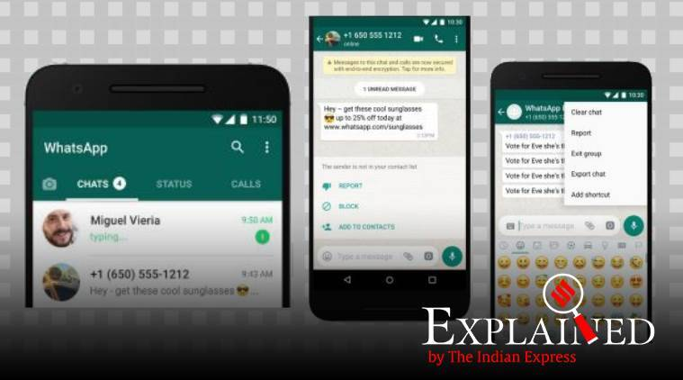 Whatsapp, whatsapp fake news, whatsapp bulk messaging, whatsapp send bulk message, whatsapp report spam. whatsapp features, explained news, indian express news, whatsapp news