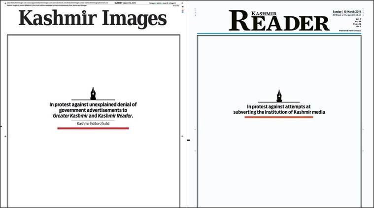 Kashmir newspapers publish blank front pages to protest govt's decision to stop ads to two dailies