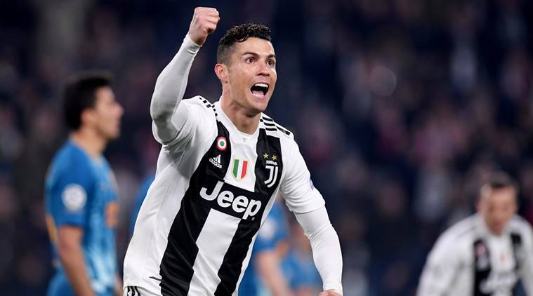 Juventus' Cristiano Ronaldo celebrates scoring their second goal.