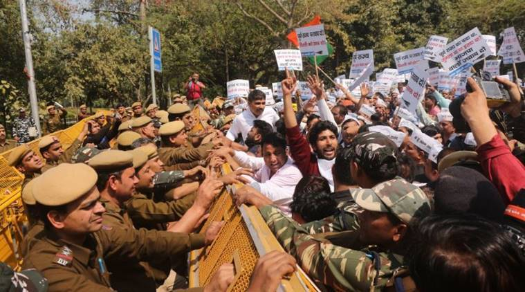 AAP begins poll campaign with protest at BJP office