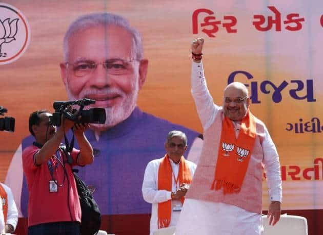 Amit Shah carries out road show before filing nomination for Gandhinagar Lok Sabha seat