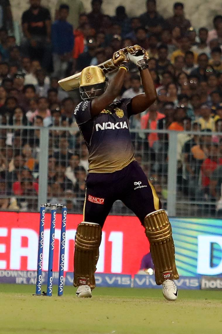 Andre Russell smashed four fours and four sixes. (Source: Express Photo by Partha Paul)