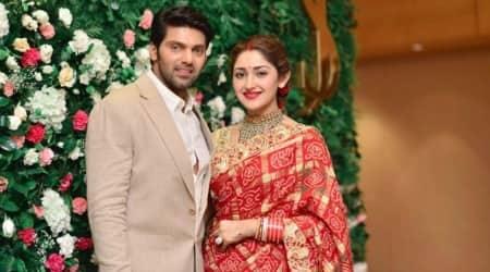 sayyesha and arya wedding reception photos