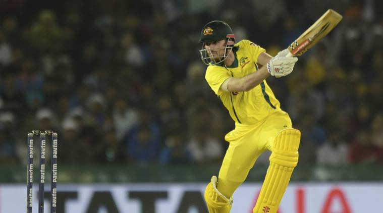 Ashton Turner of Australia plays a shot during the 4th ODI cricket match between India and Australia in Mohali