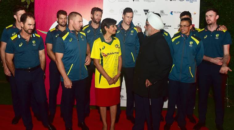 Former India cricket captain Bishan Singh Bedi interacts with the Australian cricket team players as Australian High Commissioner to India Harinder Sidhu looks on during a reception hosted by Australian High Commissioner, in New Delhi