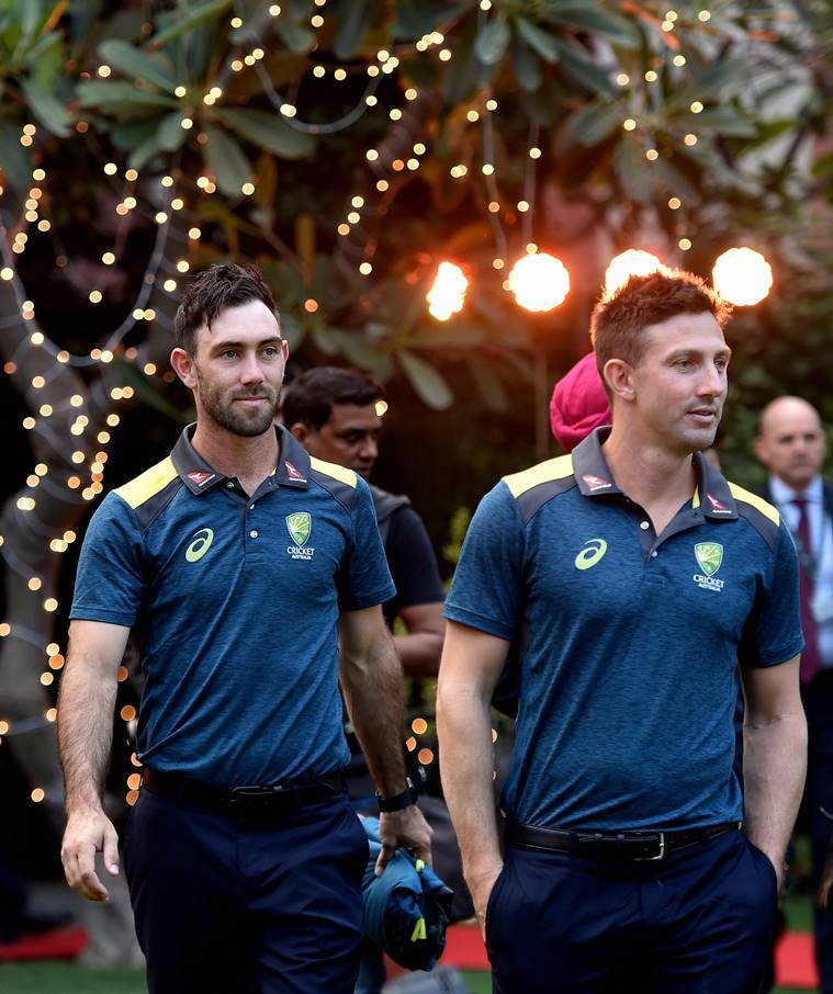 Australian cricketers Glenn Maxwell and Shaun Marsh at a reception hosted by Australian High Commissioner, in New Delhi
